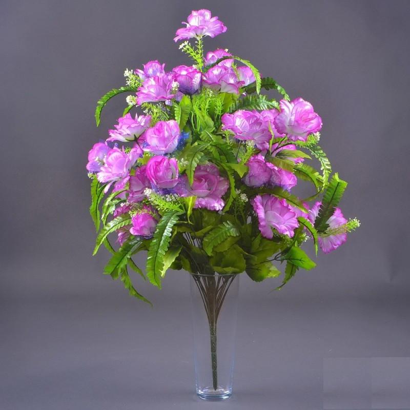 Роза бутон с папоротником NC-27/36 (7 шт./уп.) Искусственные цветы оптом