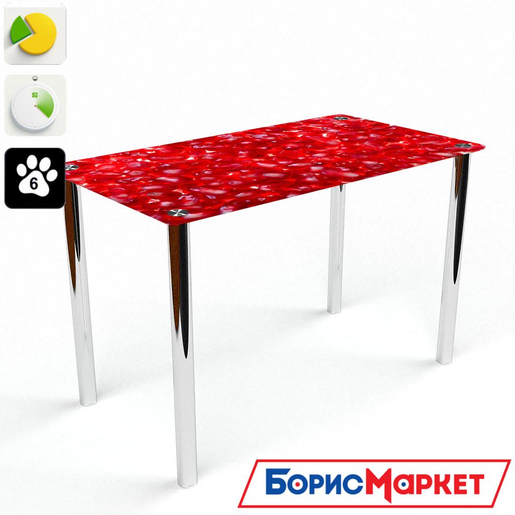 Обеденный стол стеклянный (фотопечать) Прямоугольный Garnet от БЦ-Стол