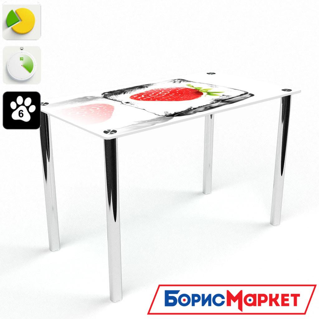Обеденный стол стеклянный (фотопечать) Прямоугольный Ice berry от БЦ-Стол