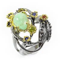 Кольцо серебряное с изумрудом 068 размер 17