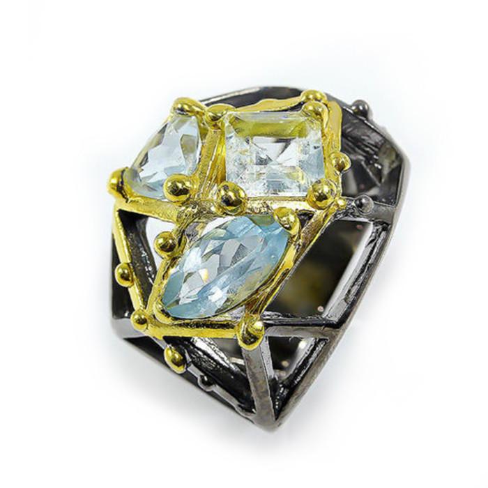 Кольцо серебряное с аквамаринами 069 размер 16