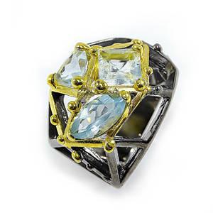 Кольцо серебряное с натуральными аквамаринами размер 16