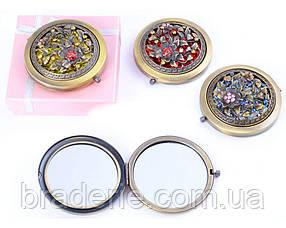 Косметическое зеркальце карманное в подарочной коробочке 7006-9 в испанском стиле