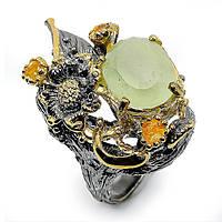Кольцо серебряное с аквамарином 041 размер 17