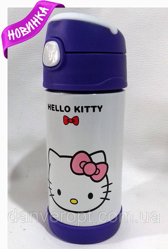 Дитячий Термос KITTY шкільний з трубочкою для дівчаток 350 ml, купити оптом зі складу 7км Одеса