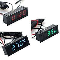 Автомобильный термометр + вольтметр + часы 12 В