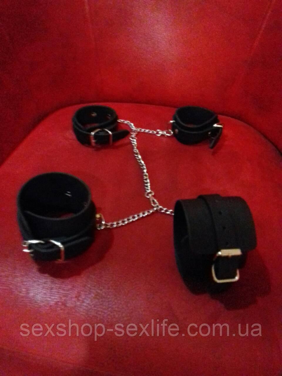 Кожаный набор:наручники и наножники с цепями:фиксация DogyStyle