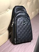 Мужской слинг, сумка через плече Louis Vuitton кожа