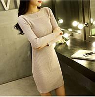 Женское платье-туника машинная вязка кофейное