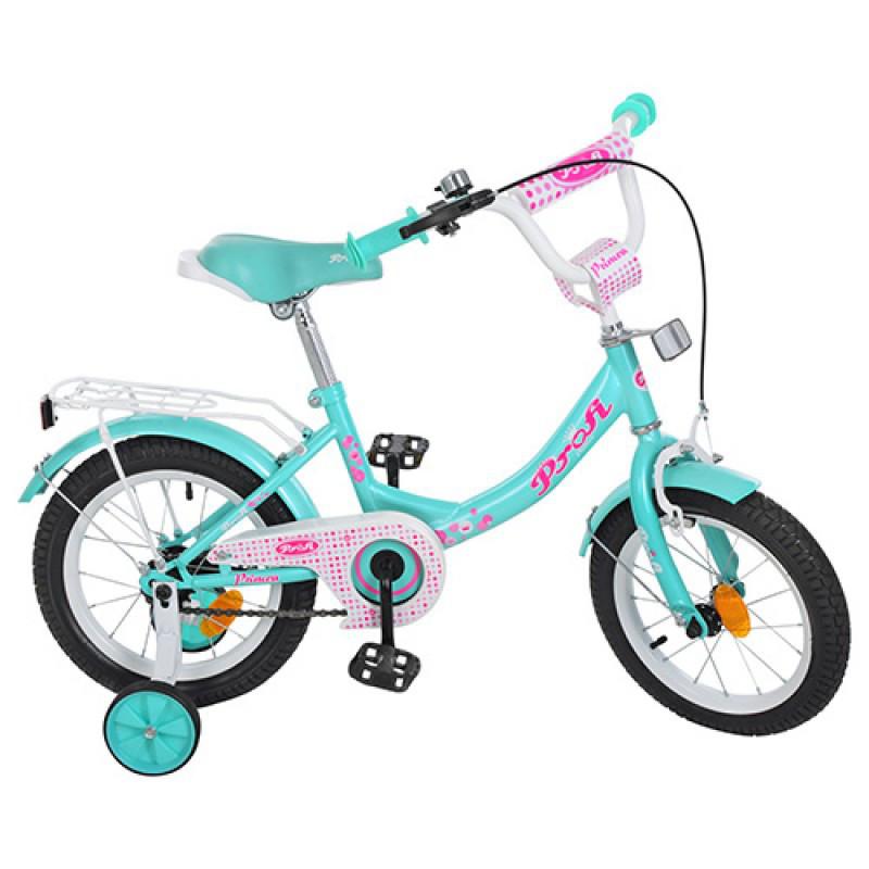 Детский двухколесный велосипед для девочки PROFI 14 дюймов цвет мята, Y1412 Princess