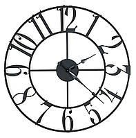 Часы настенные металлические лофт большие арабские цифры Weiser PORTO (80см) [Металл]