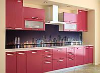 Кухонный фартук Ночное отражение, (ночной город, полноцветная фотопечать, наклейка для кухни) 600*2500 мм