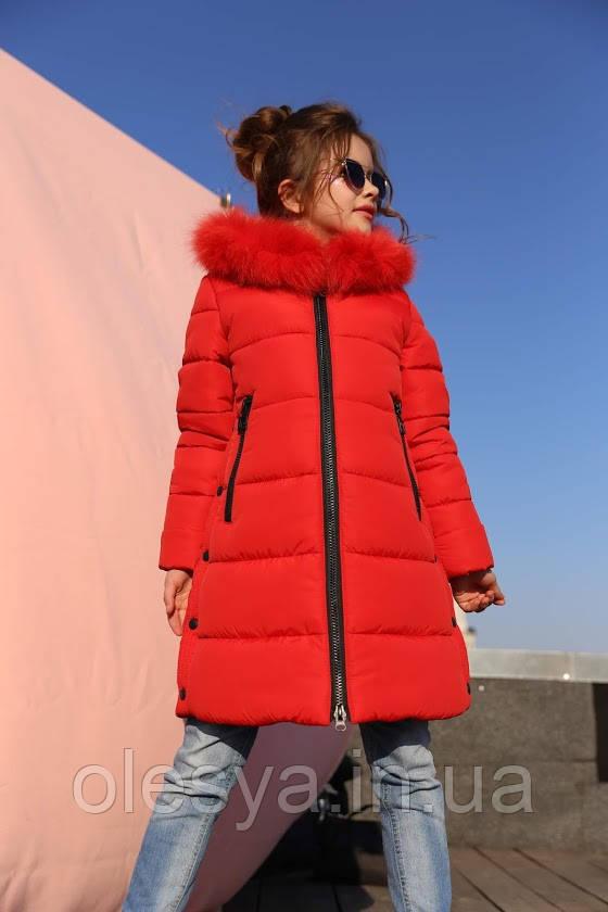 Пальто детское зимнее Вики- 2 ТМ Нуи Вери - Размеры 116 - 158 Натуральный мех песца