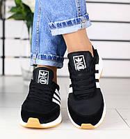 Модные и комфортные замшевые кроссовки кеды женские черные белые вставки  Adidas D54JK16-2R daa80fa9285
