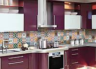 Кухонный фартук Плитка Орнамент 02, (полноцветная печать, наклейка на стеновую панель, плитка с узорами, абстракция) 600*2500 мм