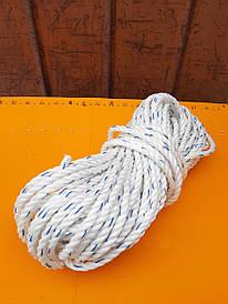 Канат крученый трехпрядный полипропиленовый канатной свивки 8 мм - 50м