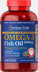 Puritan's Pride Omega-3 Fish Oil, Рыбий жир, Triple Strength 1360 mg (950 mg Active Omega-3) (240 капс.)