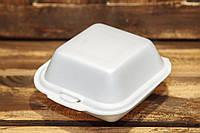 Ланч-бокс одноразовый HB-7 (мини сендвич) из вспененного полистирола с крышкой 135x135x70 мм., фото 1