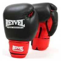 REYVEL  Перчатки боксёрские  кожа + винил  12 унций ЧЕРНЫЕ