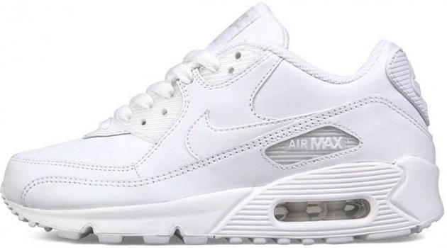 709dd46617fe Мужские кроссовки Nike Air Max 90 Leather All White (в стиле Найк Аир Макс  90
