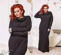 Женское платье длинное демисезонное теплое 50-56 Турция, 4 цвета