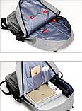 Рюкзак серый с карманами, фото 7