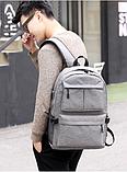 Рюкзак серый с карманами, фото 8