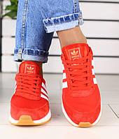 Модные красные замшевые кроссовки кеды женские Аdidas белые вставки  S54HR16-1G cc6fe21dee9