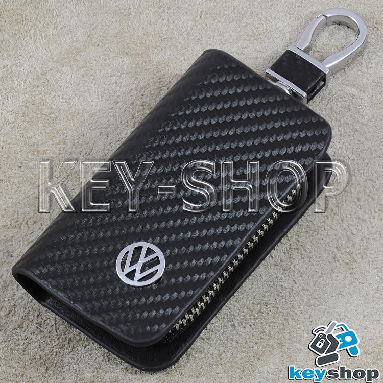 Ключница карманная (кожаная, черная, с тиснением карбон, с карабином, с кольцом) лого Volkswagen (Фольксваген)