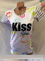 Футболка женская (детская) летняя Kiss, белого цвета, тонкая ткань, высокое качество, р.44-46, код 4041М