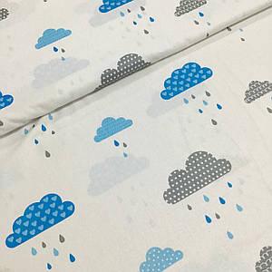 Хлопковая ткань польская облака голубые и серые