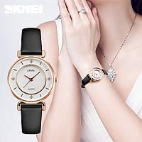 Skmei 1330  batterfly белые с золотистым кантом женские  часы