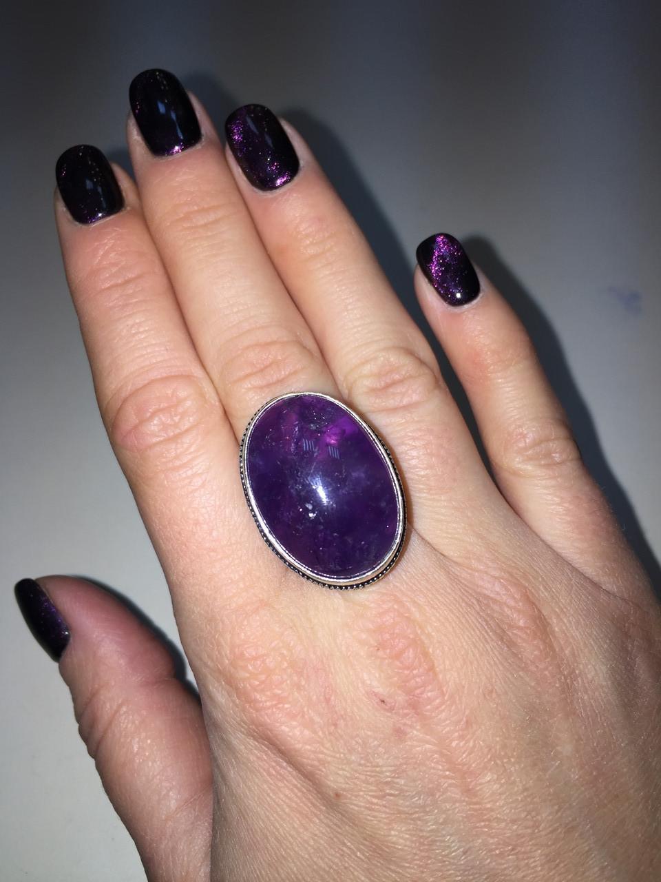Аметист кольцо с аметистом в серебре Индия! Овальное кольцо с аметистом размер 18