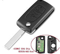 Выкидной ключ на Citroen C1, C2, С3, С4, Jumpy (Ситроен Джампи) 3 кнопки , 434Mhz id46