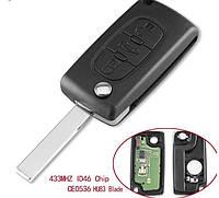 Выкидной ключ на Citroen C1, C2, С3, С4, Jumpy (Ситроен Джампи) 3 кнопки , 434Mhz id46 ASK