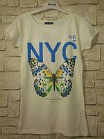 Летняя футболка для подростка или девушки коттоновая, NYC №5, бабочка, коттон с эластаном, р.42-44 код 1011М
