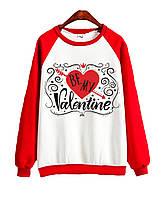 Джемпер  BE MY VALENTINE  красный+белый, XXXL