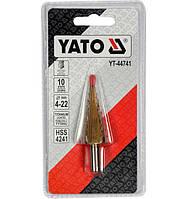 Сверло ступенчатое по металлу YATO HSS-TiN 4-22 мм YT-44741