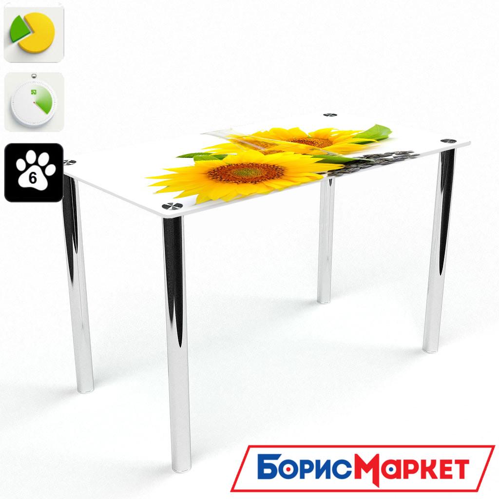 Обеденный стол стеклянный (фотопечать) Прямоугольный Sunflower от БЦ-Стол
