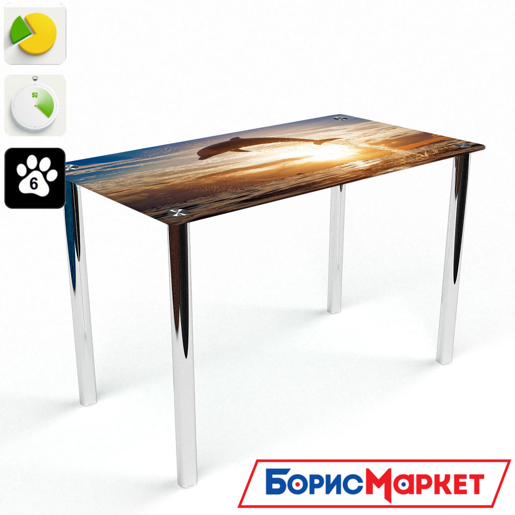 Обеденный стол стеклянный (фотопечать) Прямоугольный Sunset от БЦ-Стол