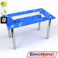 Обеденный стол стеклянный (фотопечать) Прямоугольный с полкой Acqua от БЦ-Стол