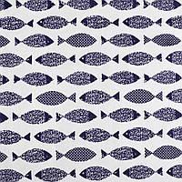 Деко-лен белый в темно-синие рыбки ш.145 (20501.020)