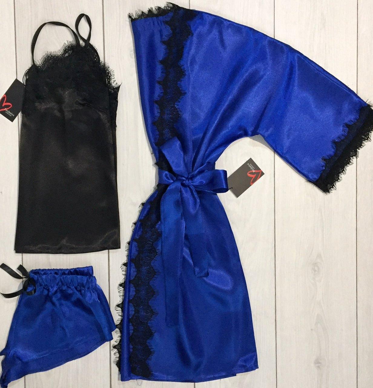 комплект для дома халат майка и шорты с кружевом
