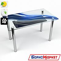 Обеденный стол стеклянный (фотопечать) Прямоугольный с полкой Astratto от БЦ-Стол