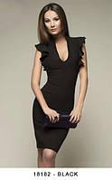 Женское приталенное платье с вырезом и рукавами крыльями Linda