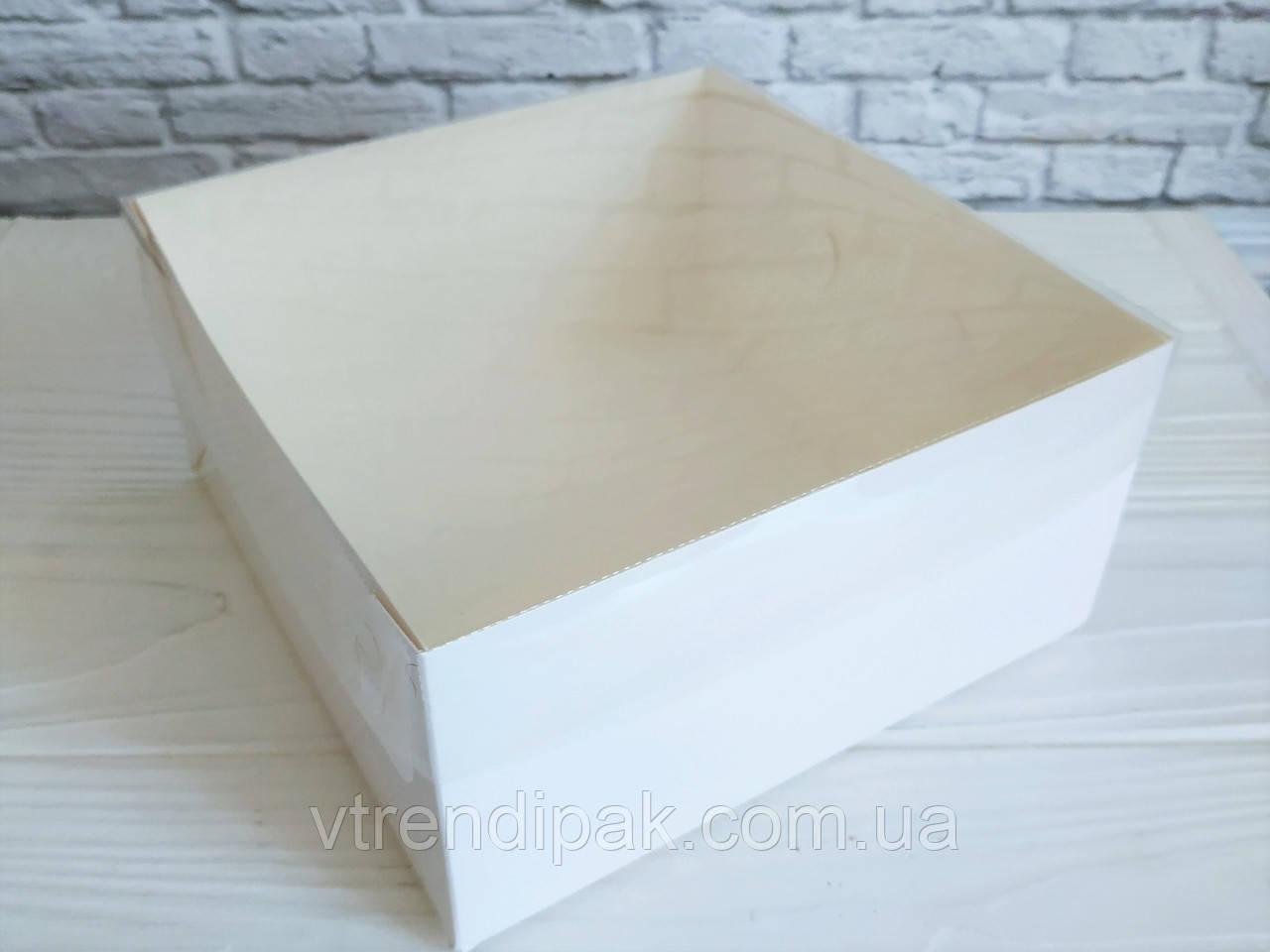 """Коробка з прозорою кришкою ПВХ 160*160*80 без вставки """"Біла"""" без вставки"""