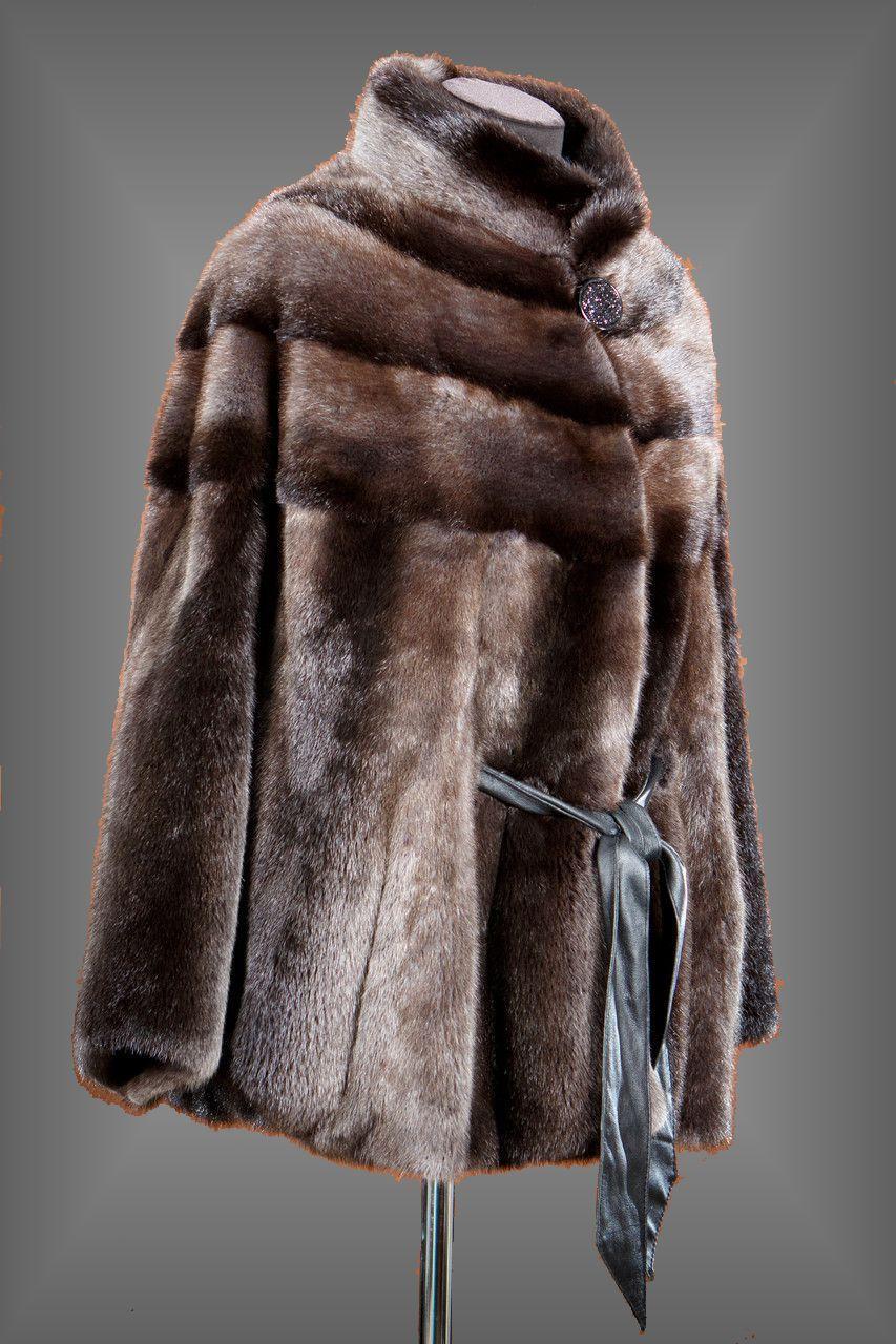 Норковая зимняя шуба с воротником