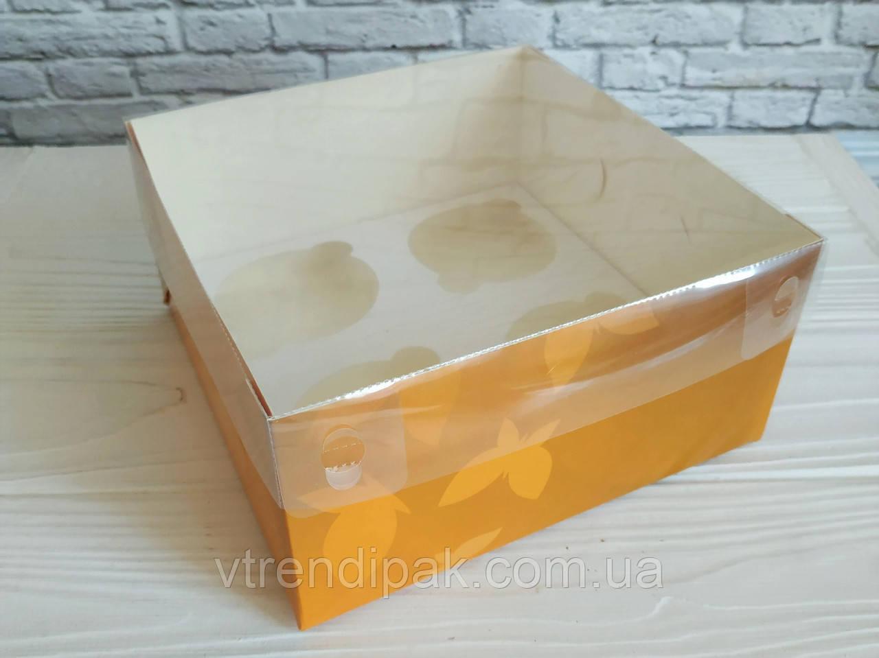 """Коробка для 4 капкейків, мафінів, кексів 160*160*80 з прозорою кришкою ПВХ """"Метелики"""""""
