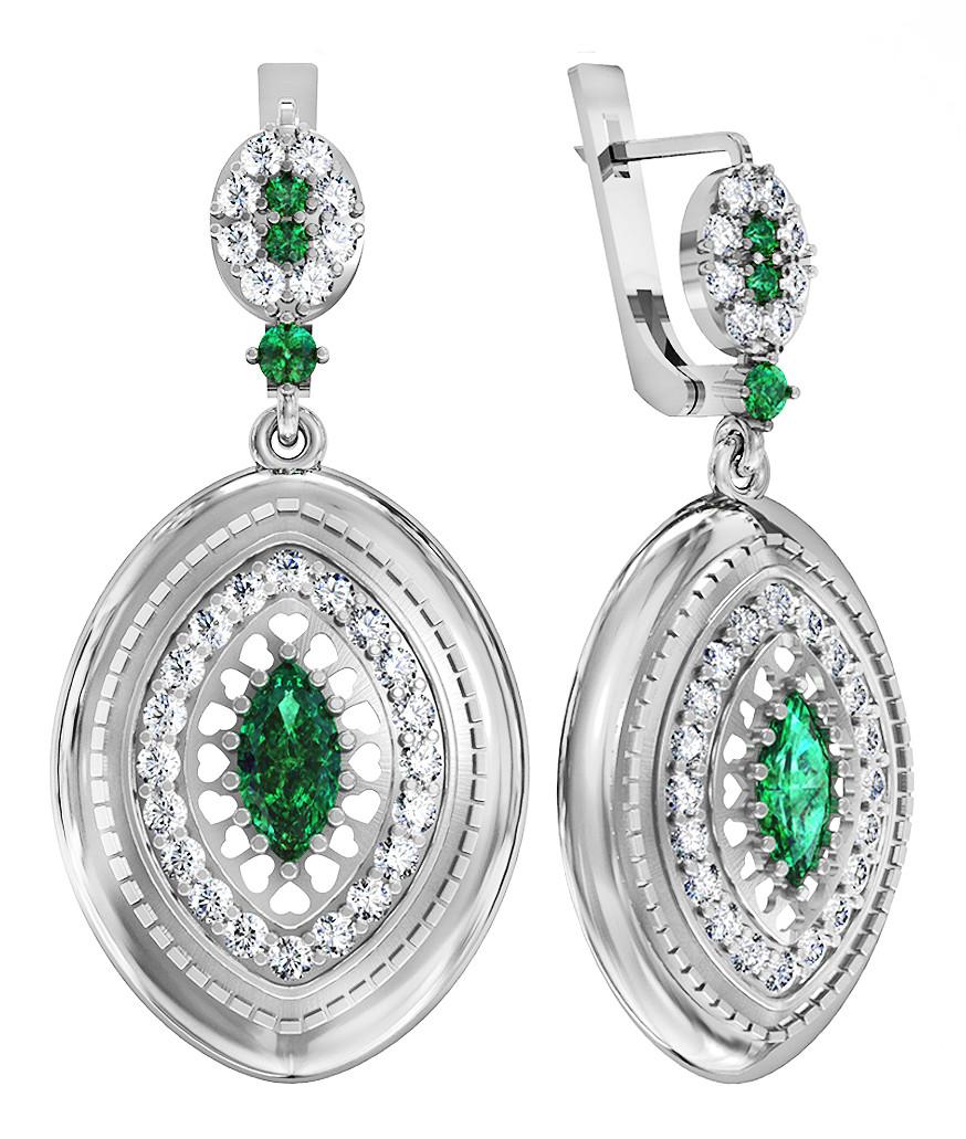 Серьги серебряные  Emerald Love  311 440
