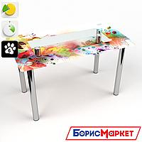 Обеденный стол стеклянный (фотопечать) Прямоугольный с полкой  Dei colori от БЦ-Стол